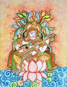 kerala mural-saraswati