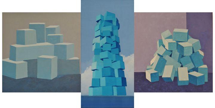 """Triptych of """"Piles of blue boxes"""" - ROUSSEAU  Jean daniel"""