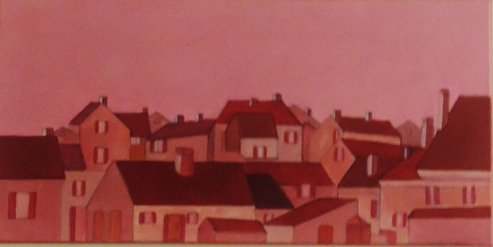 The village and the red roofs - ROUSSEAU  Jean daniel