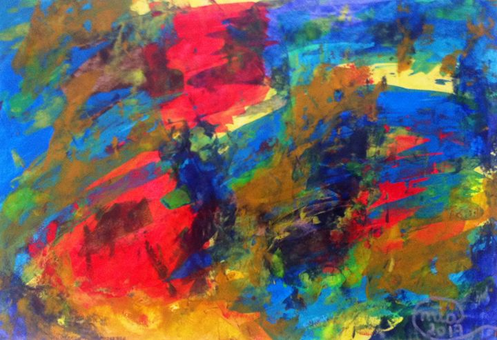 Abstract Painting Colorful Free Form - Abstract on Paper