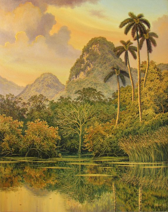 The sunset of the great mountain - Cuban Paintings