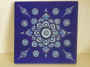 Evil Eye on blue canvas 20x20cm