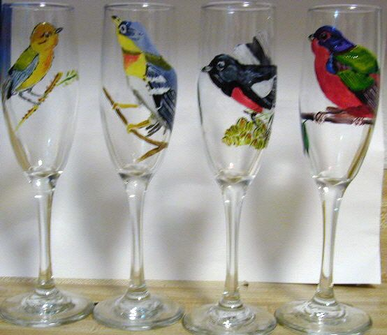 birds painted on wine glasses - Marty's Arty