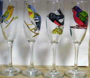birds painted on wine glasses