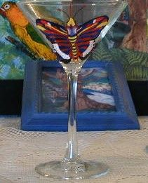 butterfly on wineglass - Marty's Arty