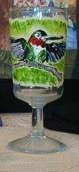 hummingbird on wine glass - Marty's Arty