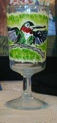 hummingbird on wine glass - Marty's Arty