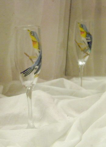 northern parula painted on wine glas - Marty's Arty
