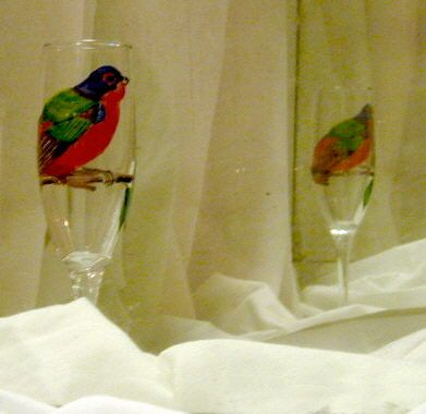 painted bunting on wine glass - Marty's Arty