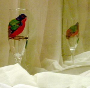 painted bunting on wine glass