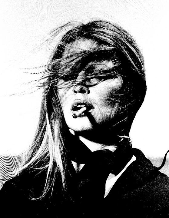 Brigitte Bardot Portrait (Linocut) - Saintiro