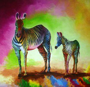 Zebras, colored stripes