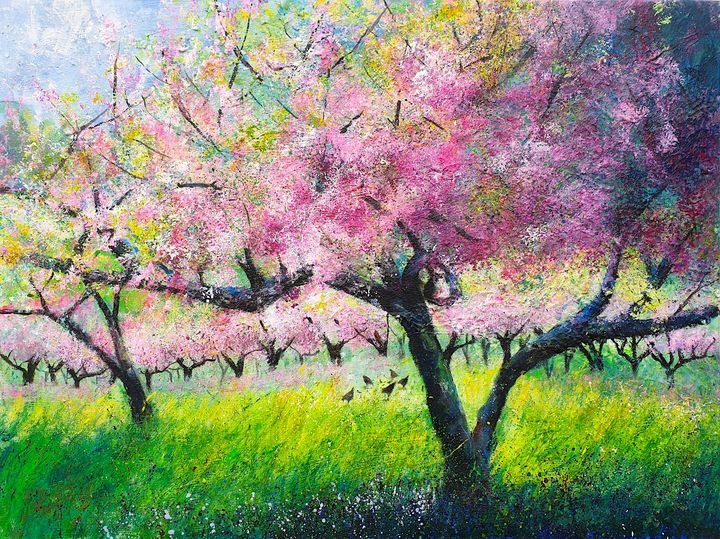 Spring Orchard, chickens - Teresa Tanner