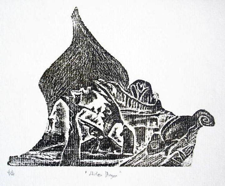 Hiden Dragon (4/4) xilography - INGISHA
