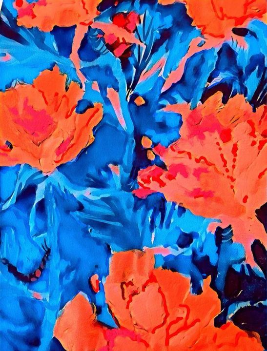 Red roses for a blue lady - Mastagni Fine Arts