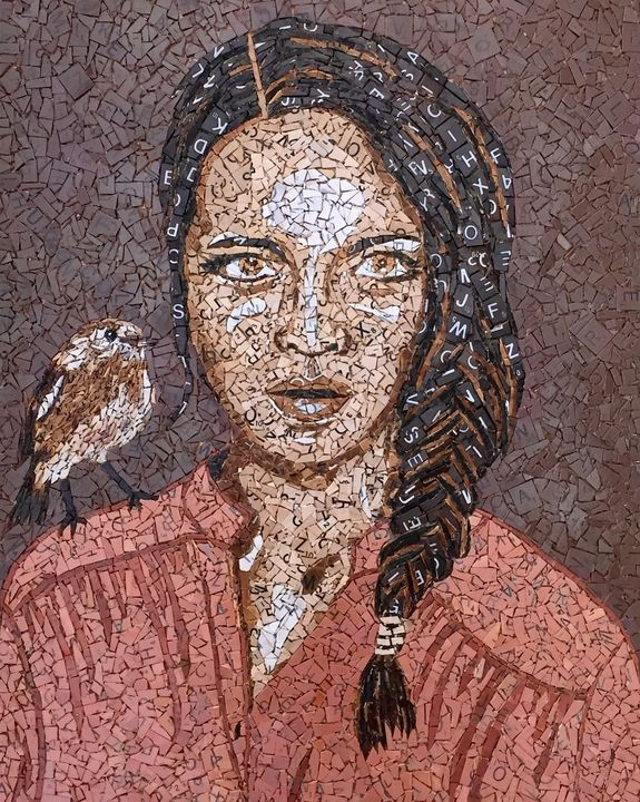Brown Bird on my Shoulder - Monique Sarfity Mosaics