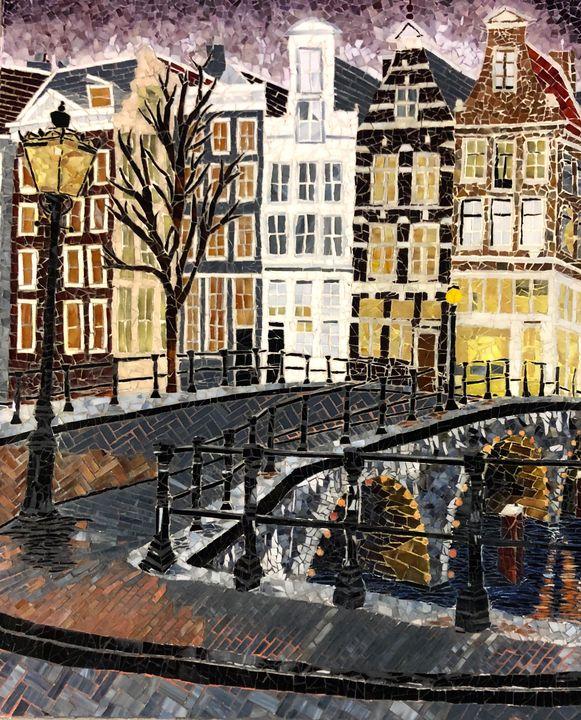 Amsterdam at Dusk - Monique Sarfity Mosaics