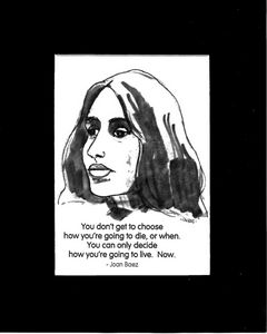 Joan Baez caricature with her quote