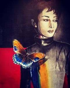 The girl with the butterfly