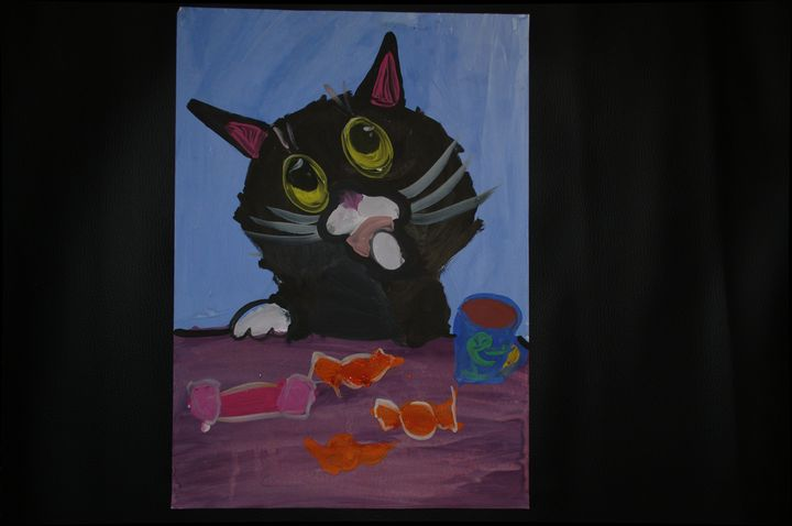 cat and candies - Child arts