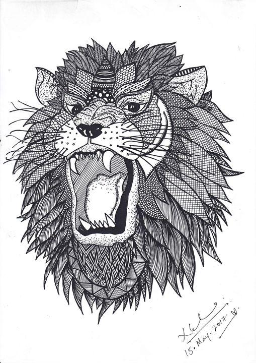 Lion- Black ink - Nea Gurung