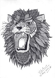 Lion- Black ink