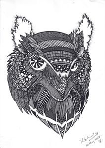 Owl- Black ink
