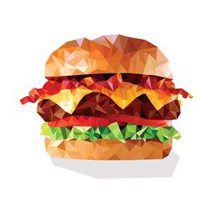 Geometric Bacon Cheeseburger - Aquanaut Studio