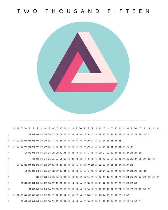 2015 Minimalist Calendar Optical Ill - Aquanaut Studio