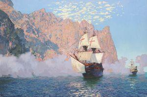 New Albion. Sir Francis Drake's ship
