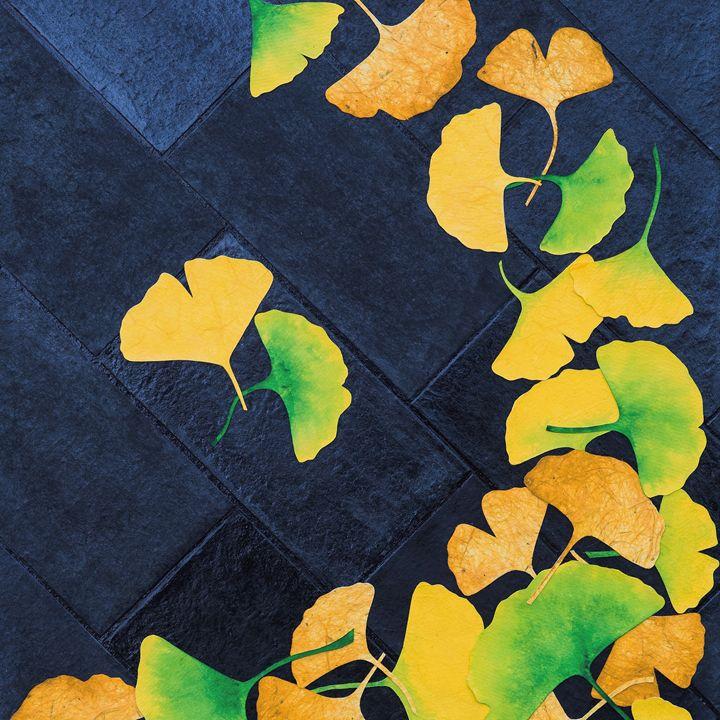 Ginkgo Leaves on Pavement - Hanji Inspired