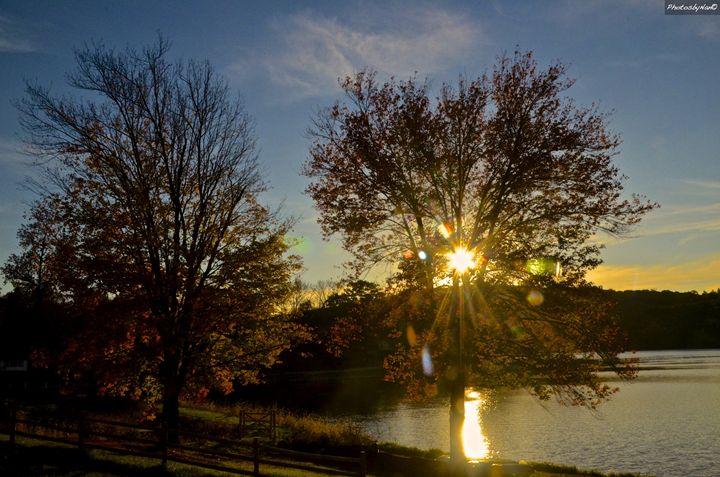 Sunset in Fall Lake Carmel - PhotosbyNan