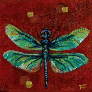 Original Dragonfly Painting, OOAK, R