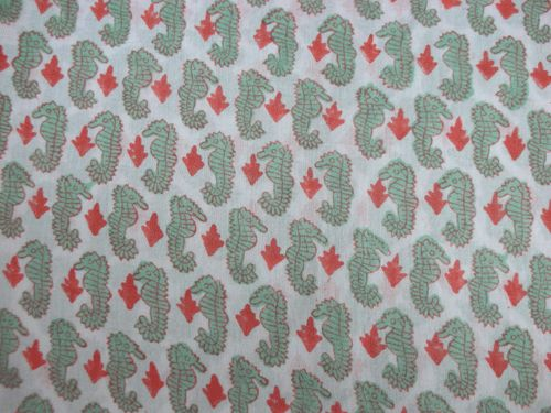 Hand Block Printed Sea Horse Fabric - Handicrafts House