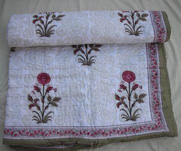 Hand Block Printed Cotton Quilt - Handicrafts House