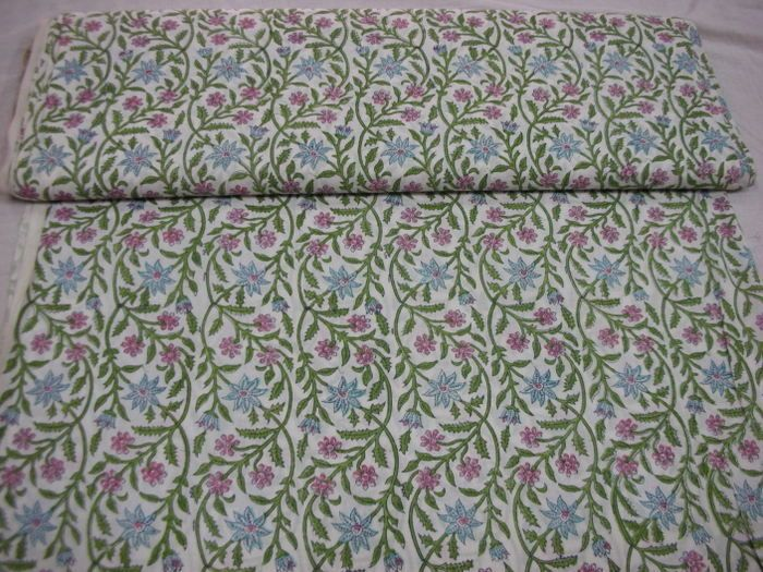 Hand Block Printed Cotton Fabric - Handicrafts House
