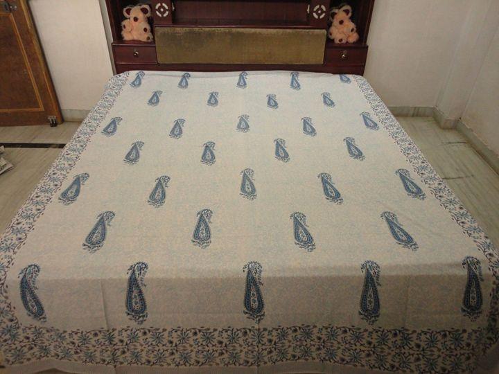 Queen Hand Block Printed Bed Sheet - Handicrafts House