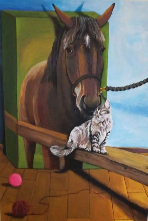 3D Horse And A Cat - Paintings