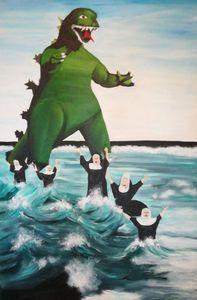 Godzilla Chasing The Nuns