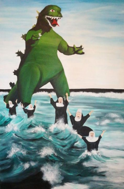 Godzilla Chasing The Nuns - Paintings