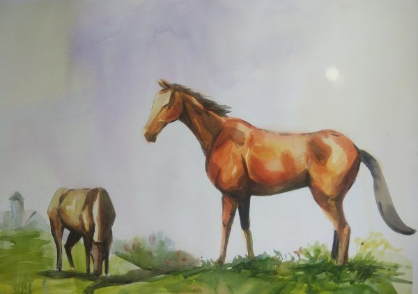 Horses In A Field - Paintings
