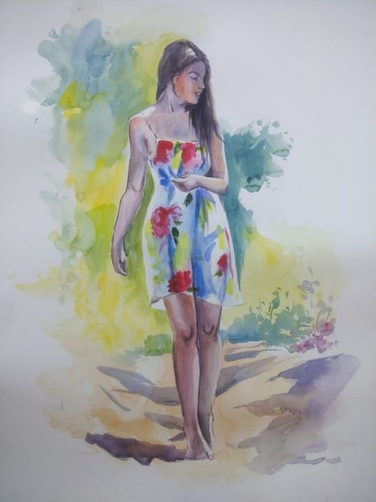 Lady in a Garden - Paintings
