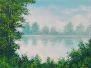 Classic Misty River Oil Painting
