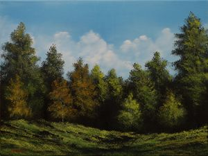 Forest landscape in oil