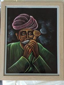 Old thinker doing Hookah