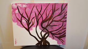 **SOLD** Pink Whimsy 8x10 in Acrylic