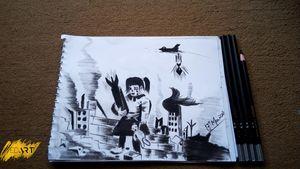Syrian War Children Charcoal Pencil