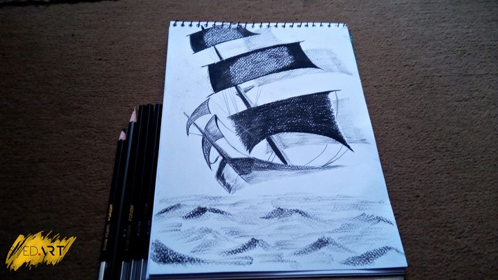 Classic Ship Charcoal Pencil Sketch - Syed Art