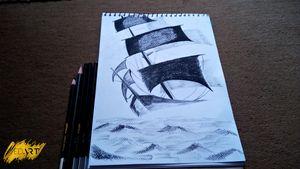 Classic Ship Charcoal Pencil Sketch