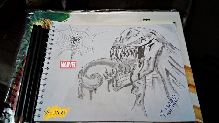 Marvel Venom Lead Pencil Drawing - Syed Art